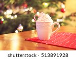 a cup of hot chocolate with...   Shutterstock . vector #513891928