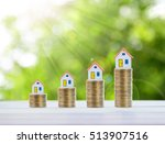 house model and coin money on... | Shutterstock . vector #513907516