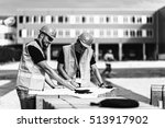 construction workers with plans ... | Shutterstock . vector #513917902
