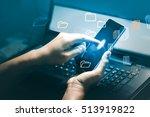 smartphone connection scene... | Shutterstock . vector #513919822