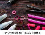 accessories for hair styling on ... | Shutterstock . vector #513945856