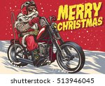 senior biker wear santa claus... | Shutterstock .eps vector #513946045