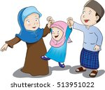 happy muslim family  father... | Shutterstock .eps vector #513951022