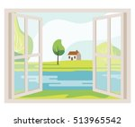 open window with a landscape... | Shutterstock .eps vector #513965542