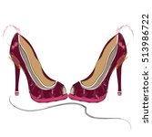 High Heel Burgundy Shoes With...