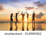 group of happy people having... | Shutterstock . vector #513989302