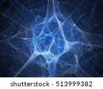 blue glowing neuron fractal ... | Shutterstock . vector #513999382