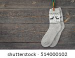 warm socks with a picture... | Shutterstock . vector #514000102