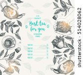 tea shop frame vector... | Shutterstock .eps vector #514028062