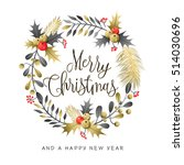 christmas wreath and bouquets.... | Shutterstock .eps vector #514030696