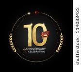 10 years golden anniversary...   Shutterstock .eps vector #514033432