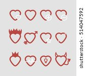 heart icon set. vector romantic ... | Shutterstock .eps vector #514047592
