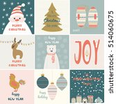 collection hand drawn christmas ... | Shutterstock .eps vector #514060675