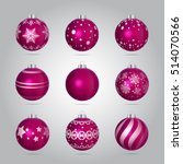 Vector Pink Christmas Baubles...