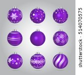 vector purple christmas baubles ... | Shutterstock .eps vector #514070575
