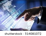 businessman hand touching with... | Shutterstock . vector #514081072
