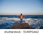 young happy girl with orange... | Shutterstock . vector #514091662