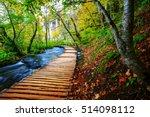 boardwalk in the park plitvice... | Shutterstock . vector #514098112