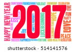 happy new year 2017 word cloud... | Shutterstock .eps vector #514141576