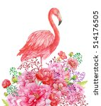 Flamingo And Flowers.pink...