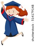 woman in blue graduation gown...   Shutterstock .eps vector #514179148