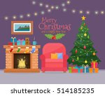 christmas room interior with... | Shutterstock .eps vector #514185235