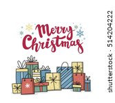 christmas card with gifts | Shutterstock .eps vector #514204222