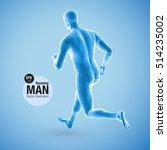 3d running man  blue colored.... | Shutterstock .eps vector #514235002
