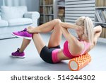 workout. woman exercise at home | Shutterstock . vector #514244302