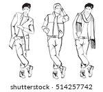 sketch. handsome stylish man... | Shutterstock .eps vector #514257742