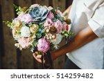 bouquet  creative  white ... | Shutterstock . vector #514259482