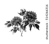Peony Flowers In A Traditional...
