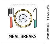 meal breaks line icon | Shutterstock .eps vector #514280248