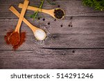 Species And Herbs On Wooden...