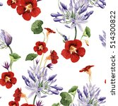 Stock photo seamless floral pattern with flowers watercolor 514300822