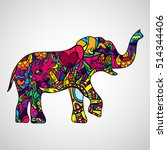 psychedelic elephant body... | Shutterstock .eps vector #514344406