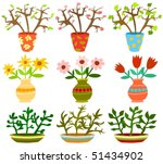 set of a flowers in vases | Shutterstock .eps vector #51434902