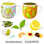 set of tea accessories and  tea ... | Shutterstock .eps vector #51434905