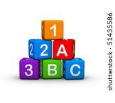 Educational Toy Blocks with letters and numbers - stock photo