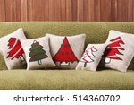 christmas pillows on sofa | Shutterstock . vector #514360702