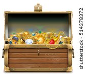 vector wooden chest with gold | Shutterstock .eps vector #514378372