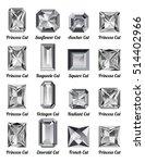set of realistic white diamonds ... | Shutterstock .eps vector #514402966