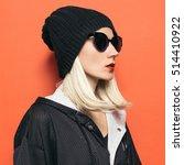 Hipster Blonde Girl Fashion...