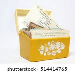old  yellow 1960s recipe box... | Shutterstock . vector #514414765