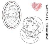 little princess outline vector... | Shutterstock .eps vector #514423396