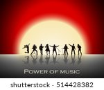band show on red sunset... | Shutterstock .eps vector #514428382