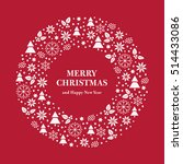 Merry Christmas and Happy New Year greeting card. Merry Christmas wreath consisting of flat Icons. Vector
