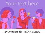 vintage women night put ... | Shutterstock .eps vector #514436002