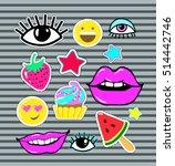 lips  eyes  smile  stars  candy ... | Shutterstock .eps vector #514442746