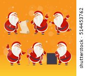 set of santa claus pointing her ... | Shutterstock .eps vector #514453762